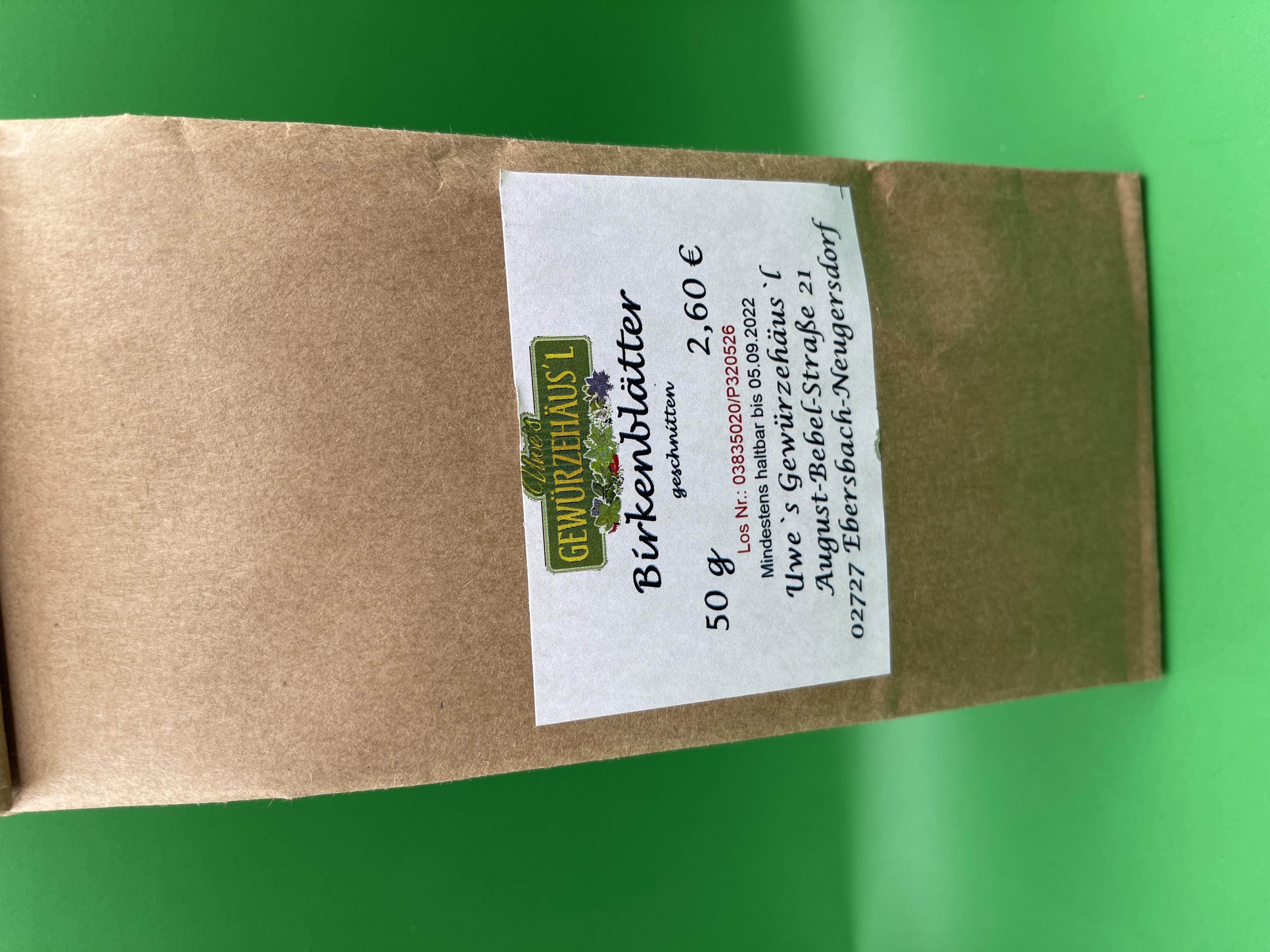 Birkenblätter geschnitten 50 g